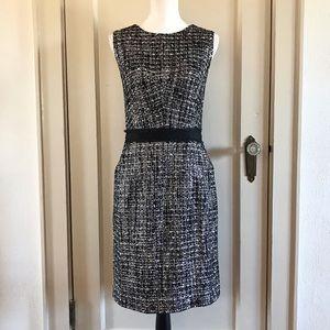 MILLY - Silver Metallic Tweed Sheath Dress 12 / L